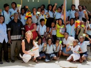 Clare with children and Colleagues at Josina Machel primary school, Tete