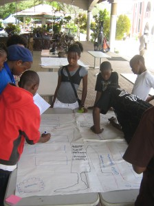 Children in Freetown doing a needs analysis excercise