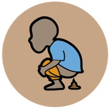 Our diarrhoea logo, a brown circle in the centre of which is an illustration of a child wearing a blue shirt and orange shorts in a squat position having a poo.