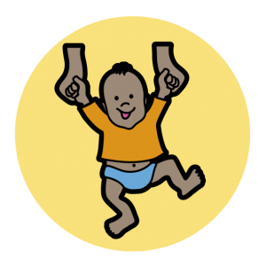 A yellow circle with a baby wearing an orange top and blue nappy, they hold the hands of an adult to practice walking.
