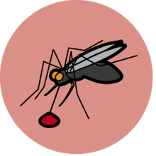 The Children for Health malaria logo - it is a red circle with a mosquito in it.