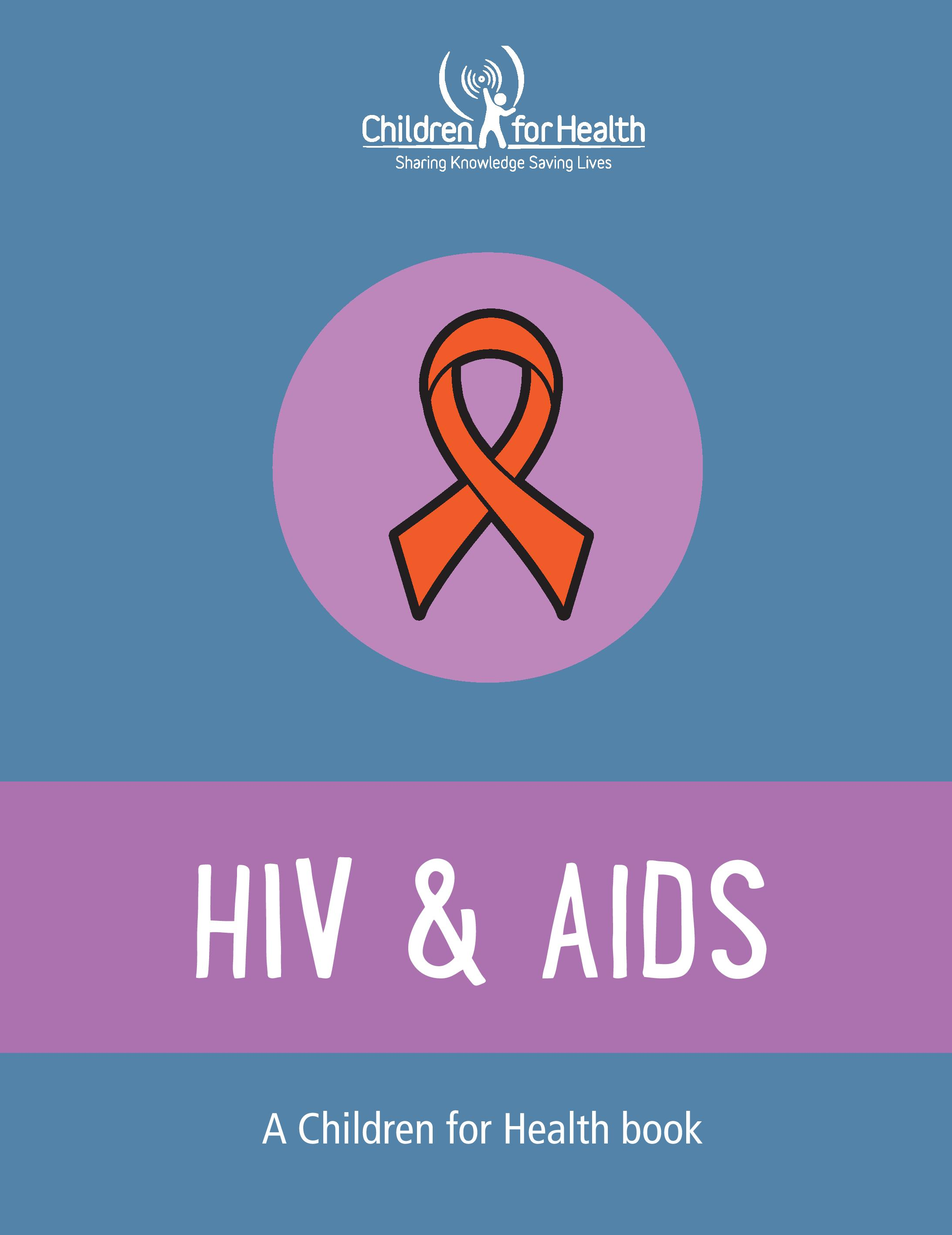 A red ribbon on a purple background with HIV & AIDS in large text below. It is the cover of a Children for Health book.