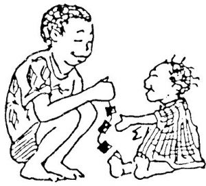 Black and white illustration of an older child squating down to play with a toddler who is sitting on the floor. Representing the Caring for Babies & Young Children topic in the Gujarati language.