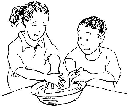 A illustration of two children washing their hands in a bowl of water before eating