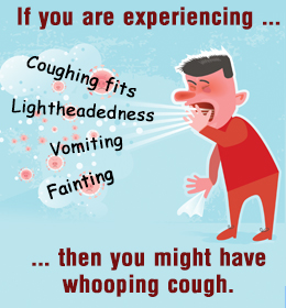 Teal image with a child wearing a red shirt and trousers with the text 'If you are experiencing Coughing fits, Lightheadedness, Vomiting, Fainting then you might have whooping cough.'