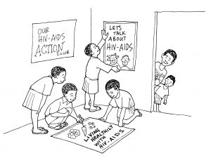 Four children are making and displaying posters about HIV and AIDS while two other children look on.