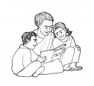 A mother reads a book entitled HIV & AIDS Facts to her two children. Representing the HIV & AIDS topic in Telugu.