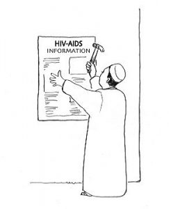 A person wearing a robe and a hat is putting up a poster about HIV & AIDS, they have a hammer in their right hand.