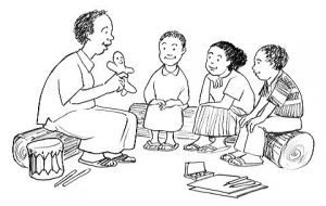 Three children sit with their teacher learning about the 100 health messages in Marathi.