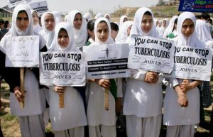 Girls in the Yemen on a TB health march