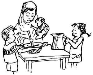 A black and white illustration of a woman holding a baby while stirring the contents of a bowl that a boy is holding still for her. A girl holding a jug is standing next to them. Representing Nutrition for the Portuguese language.