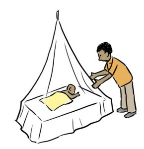Cartoon of a man wearing an orange shirt and brown trousers adjusting a mosquito net over an infant with a yellow blanket in bed. Representing the health topic Malaria for the Assamese language.