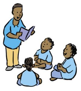 Three children sit in a circle around an adult reading from a book with a purple cover. Helping children learn these important health messages in Hindi.