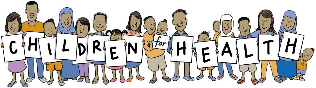Illustration of a group of people holding posters with letters that spell out Children for Health