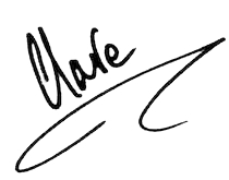 Clare's signature - black ink on a white background