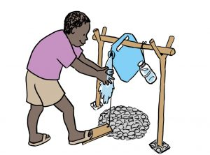 A man wearing a purple shirt and brown shorts is working a water pump to wash his hands. Representing the Water, Sanitation & Hygiene topic in the Khasi language.