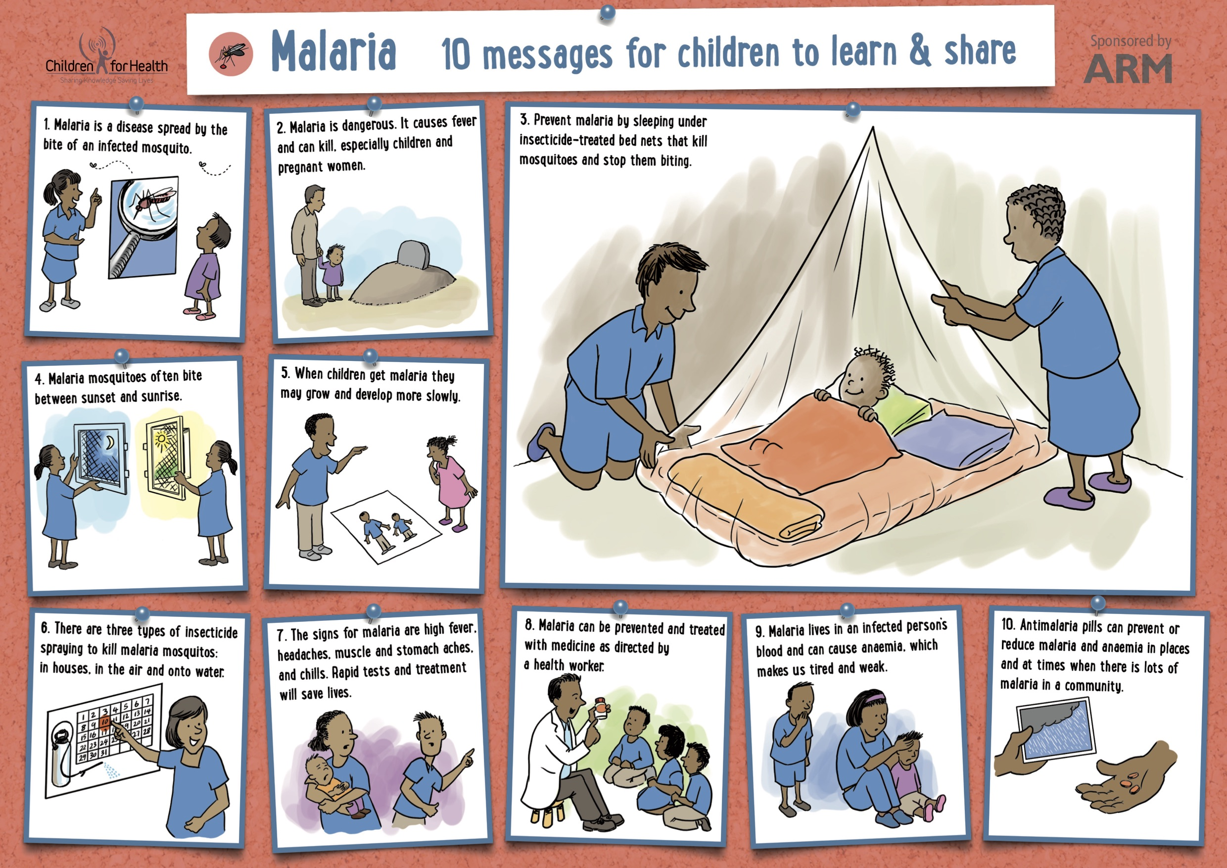 Children for Health's Malaria prevention poster. It is red with 10 boxes with white backgrounds, each with a cartoon and a message about preventing malaria.