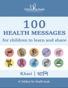 The cover of the 100 Health Messages Booklet in Khasi, it is blue with 10 drawings in 10 circles illustrating each of our 10 topics.